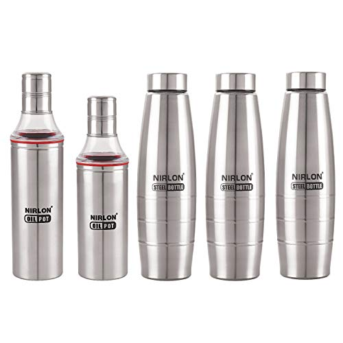 NIRLON SINGLE WALL,HIGH DURABLE,BPA FREE WATER BOTTLE AND OIL POT SET PACK OF 03