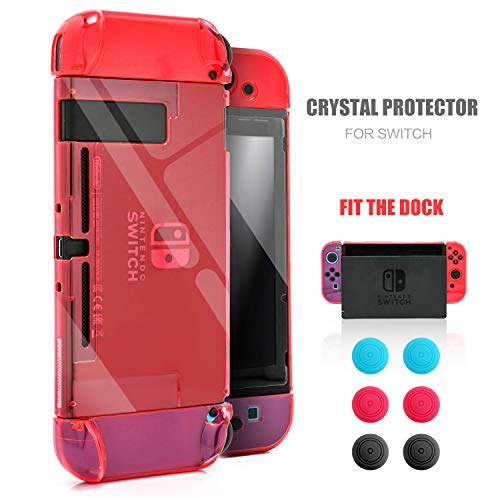 Dockable Case for Nintendo Switch, Protective Case for Nintendo Switch with a Tempered Glass Screen Protector and 6 Joy Stick Covers, Fit into The Dock Station - Red
