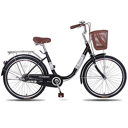 QIU Ladies 20'/' 24'Rueda 7 Velocidad 19' Marco Tradicional Bicicleta Bicicleta Azul (Color : Black, Size : 20')