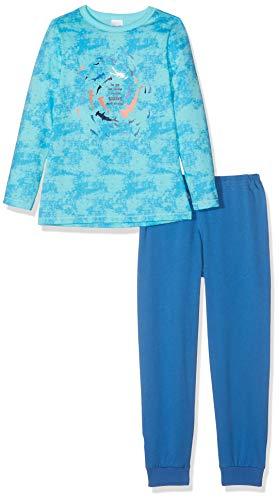 Schiesser Jungen Kn Anzug lang Zweiteiliger Schlafanzug, Blau (Aqua 833), (Herstellergröße: 104)