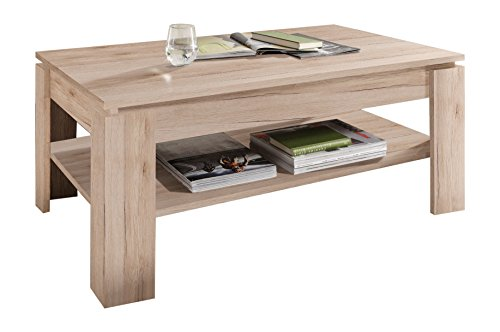 trendteam smart living Mesa de centro para salón Universal, 110 x 47 x 65cm, en roble San Remo claro, con tabla adicional para colocar objetos