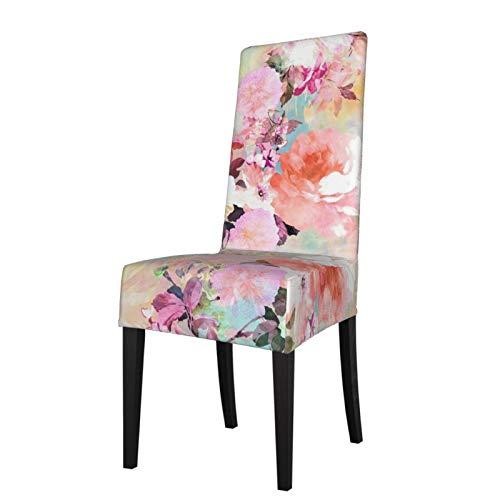 KAZOGU 2 fundas extraíbles para sillas de comedor, modernas, florales, rosa, morado, pastel, acuarela, para decoración de sillas de fiesta