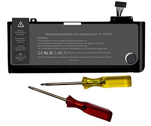 """Batteria di ricambio per computer portatile MacBook Pro 13"""" A1278 (2010, anno di costruzione 2009, Early 2011, Late 2011, Mid 2012), MacBook Pro 13 A1322 [polimeri di litio 10,95 V 63,5 Wh]"""
