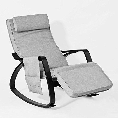 SoBuy FST20-HG Eponge plus épais!! Fauteuil à bascule berçante relax avec pochette latérale amovible, Rocking Chair Bouleau Flexible