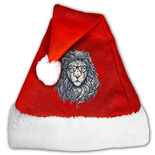 Gafas Len Unisex Santa Sombrero Comfort Rojo y Blanco Felpa de Terciopelo Fiesta Navidad Sombrero