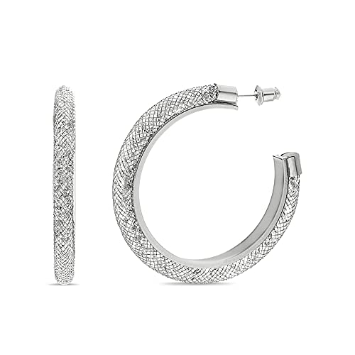 Badgley Mischka Pendientes de aro en forma de C con diamantes de imitacin tubular de malla para blanco