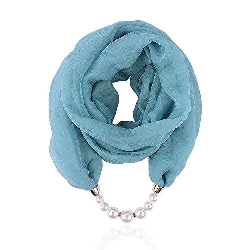 Micoop Mehrzweck-Schal für Damen, einzigartiger Anhänger, Schal, Halskette, stilvoll, mit Schmuck-Zubehör Gr. One size, Türkiser Schal mit Perle