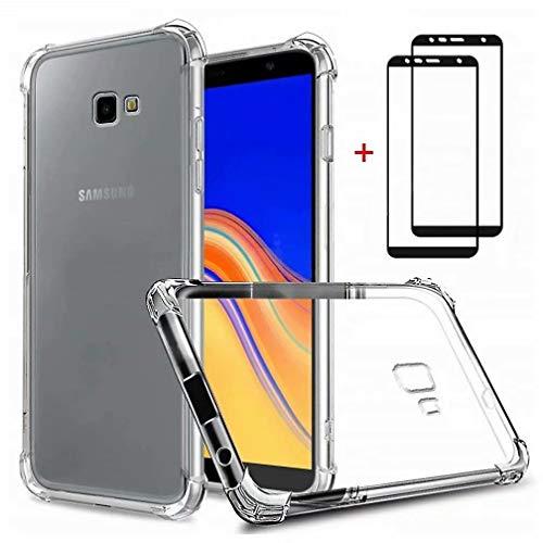 WYRHS Kompatibel mit Samsung Galaxy J4 Plus 2018 Hülle Transparente TPU Silikon Weich Handyhülle + 2*Gehärtetes Glas Film Luftkissen-Design Abdeckung Anti Scratch Schutzhülle