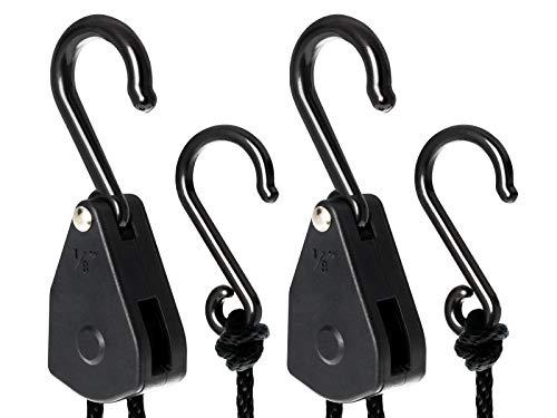 TRAFIKA Lighthangers/Poleas con 5kg de Capacidad de sujección/Aptas para Reflectores y Filtros de carbón Ligeros de Armarios de Cultivo Interior/Grow Tent/Growbox/Rope Ratchets