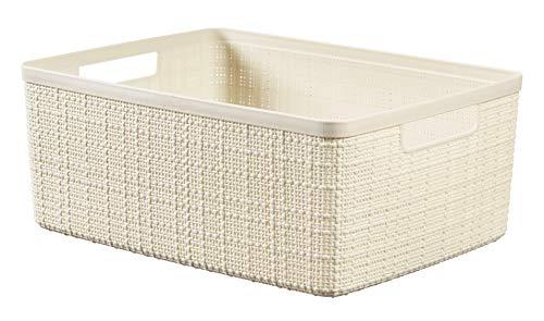 Keter Jutekorb, 100% recycelter Kunststoff, rechteckig, 12 l Medium Gebrochenes Weiß