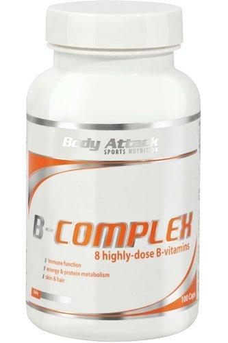 Body Attack Vitamin B-Complex - 8 hochdosierte B Vitamine - Vitaminpräparat zur Nahrungsergänzung - 100 Caps