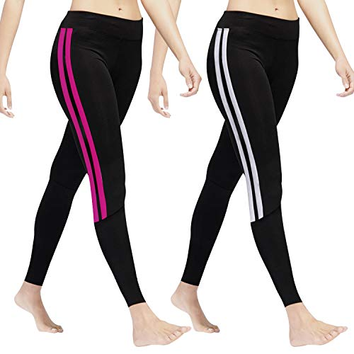 GoVIA Leggings Damen Laufhose Luftdurchlässige Trainingshose Sporthose Yogahose Fitness Yoga High Waist Lang Streifen 4138 Weiss+Pink L/XL