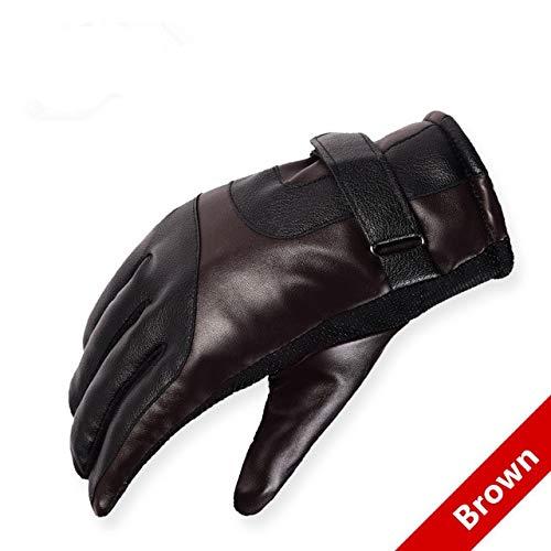 Mdsfe Herren Lederhandschuhe Herren Winter im Freien warmes Fell Dicke warme Patchwork-Handschuhe - Braun
