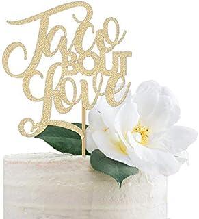 DKISEE Tarta con purpurina para decoración de tarta de boda, con purpurina dorada, para fiesta de compromiso, fiesta de ta...