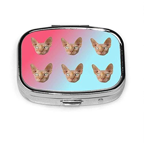 Sphynx Cats Head Shrimp Lemon Custom Stainless Steel Square Pill Box Vitamin Organizer Holder