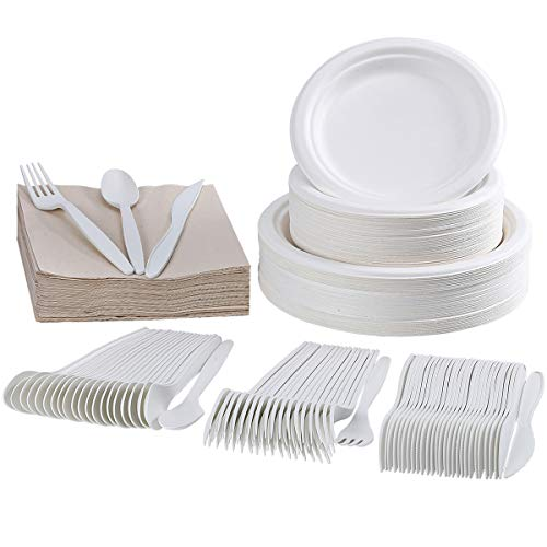 FOCUSLINE 300 Piece Disposable Dinnerware Set, Eco-Friendly Compostable Plates Set - 100 Biodegradable Paper Plates - 50 Forks, Knives, Spoons and Napkins for Party, Camping, Picnic
