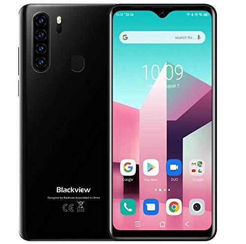 Blackview A80 Plus 【2021】 Smartphone Móvil Libres 4G, Pantalla HD + 6.49'', Helio P22 4GB + 64GB, Cuatro Cámaras Traseras, Batería 4680mAh, Grosor 8.8mm, Android 10 Teléfono Dual SIM, NFC GPS Negro