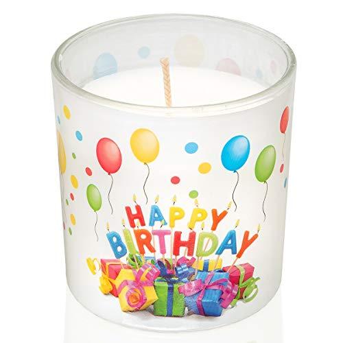 Smart-Planet® Geburtstagskerze im Glas - Happy Birthday Kerze mit Geschenk Motiv - Windlicht ohne Duft mit lustigem Geburtstagsmuster - Tischdeko