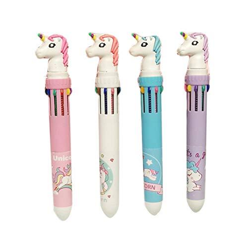 4 stücke Multifarbe Einhorn Kugelschreiber Einziehbare Tintenroller Einhorn Kugelschreiber Schule Büromaterial Versorgung