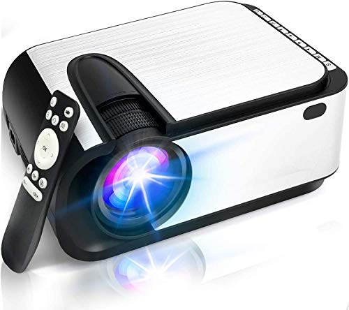 """Mini Projector, [2021 Upgraded] 6000 Lumen Video Projector, 1080P Supported 210"""" Display, Compatible with Phone,Computer,Laptop,USB,HDMI,VGA"""