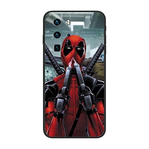 Black Case for Huawei P40 Pro, MV-Hero Deadpool-Spider 7 TPU Matte Silikon Coque Slim Fit Anti-Scratch Print Flexible Gel
