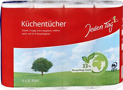 Jeden Tag Küchentücher 3lagig, 4x 51 Blatt