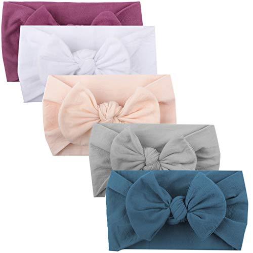 5pcs filles bébé enfant en bas âge Turban solide bandeau bande de cheveux arc Accessoires Chapeaux couleur unie Big Bow bijoux mignonne princesse bande de cheveux