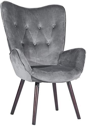 MEUBLE COSY Poltrona Design Moderna Sedia Relax Soggiorno Sedia Lounge Salotto, Grigio, 68x74x106 cm
