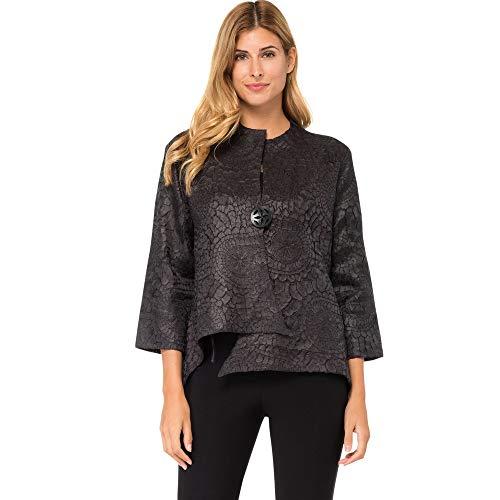 Joseph Ribkoff Black Textured Lightweight Swing Jacket Style 184993 Size Small