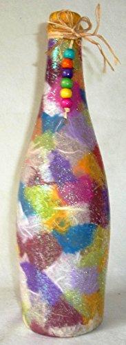 ❤ Leuchtflasche ❤ beleuchtete Flasche ❤ MOSAIK ❤ bunt ❤ 29cm ❤