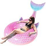 SPERPAND Inflatable Mermaid Float for Pool, Swimming Pool Tube Mermaid Floaties,Huge Pool Floats for Adults Pool Party Lounge Birthday Gift(Pink)