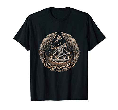 Viking Ship Odins Raven Huginn and Muninn - Norse Mythology T-Shirt