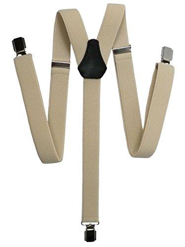 Unisexe Bretelles entièrement réglable Modèle 'Skinny' avec 3 Clips - 2.5cm. Crème Clair