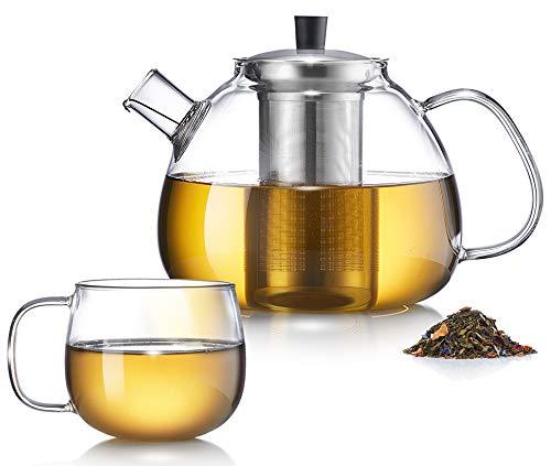 Zoe&Mii -Teekanne - Teekanne Glas - Teekanne mit Siebeinsatz -Teebereiter aus Glas 1.5 Liter - Teekessel mit Tasse - Glaskanne für losen Tee und Teebeutel