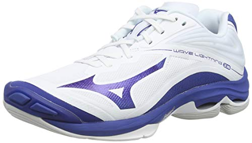 Mizuno Unisex-Erwachsene Wave Lightning Z6 Volleyballschuhe, Weiß (Wht/10249c/Trueblue 21), 43 EU