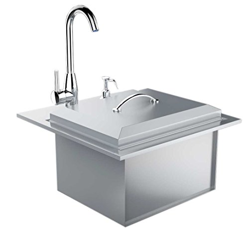SUNSTONE B-PS21 Commercial Sink with Lid and Cutting Board, 21-Inch