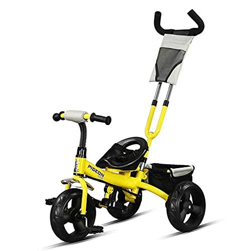 Triciclos Triciclo TRIKE TRICICLETS, bicicletas, niños y cochecitos de 25 años, pedales plegables, barra de empuje extraíbles, canasta grande, marco de acero de alto carbono (color: rosa) (color: amar