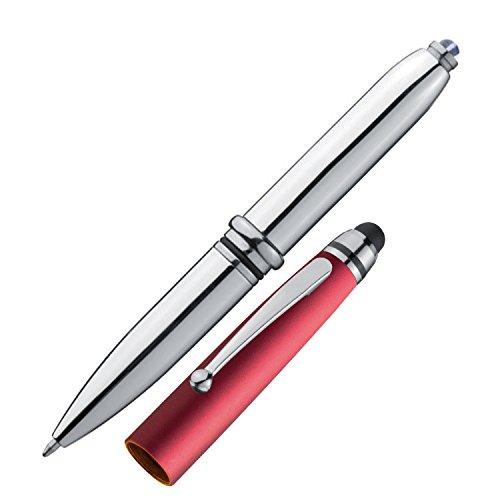 5x Touchpen Kugelschreiber / mit LED Licht und Touchscreenstift / silber-rot