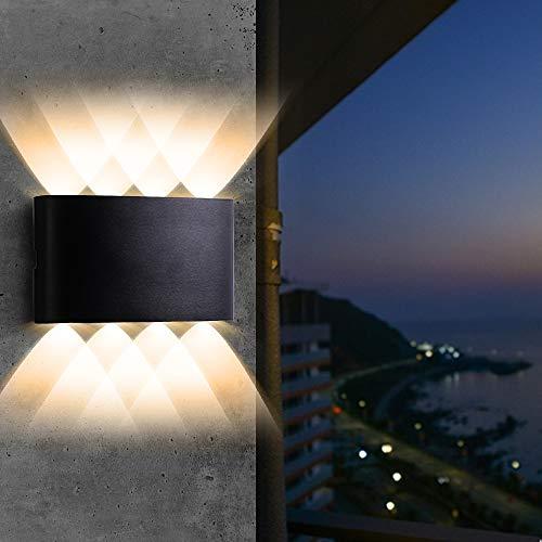 LED Wandleuchte ,8W Modern Wasserdichte Wandlampe Aluminium Up und Down Spotlicht Wandlicht Warmweiß 3000K für Wohnzimmer, Schlafzimmer, Badezimmer, Flur, Balkon, Treppen [Energieklasse A++]