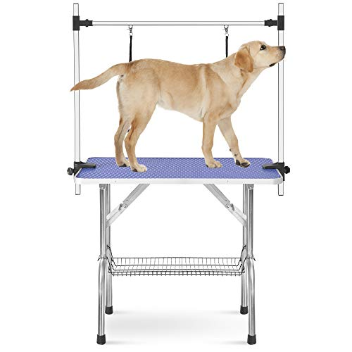 Rhomtree Professional 36' Adjustable Pet Grooming Table Heavy Duty with Arm & Nosse & Mesh Tray for Large Dog Cat Shower Table Bath Station, Maximum Capacity Up to 330 LBS (36 inch)