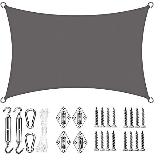 Toldo Vela de Sombra PES Cuadrado Protección Rayos UV Impermeable Resistente a la Intemperie para Patio Exteriores Jardín Color Arena,Gris,3×3m/9.8×9.8ft