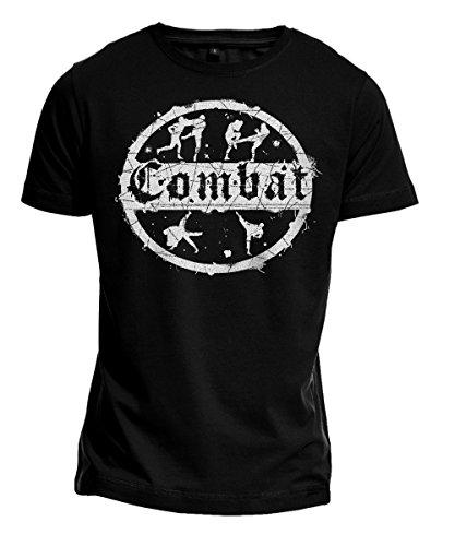 T-Shirt Combat Kampfsport, MMA, Kickboxen, Judo, Free Fight, Budosport, schwarz (XL)