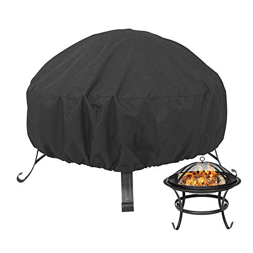 N / A Fire Pit Cover,Fire Pit Cover Round,Heavy Duty Waterproof Dustproof 210D Outdoor Round Grill BBQ Cover with Drawstring and PVC Coating Fireplace Cover for 26 inch to 34 inch Fire Pit,34' x 15'