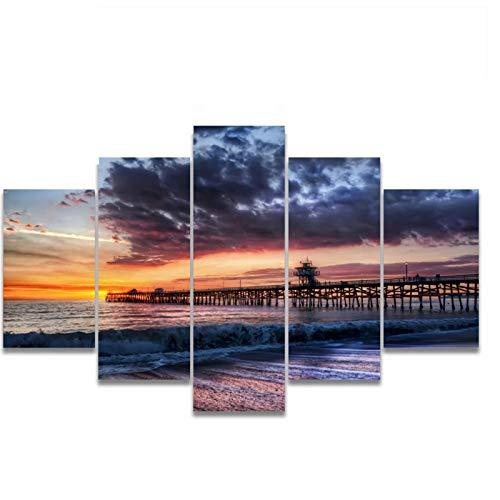 PDFKE Sunset Waves Sea Level Boardwalk Canvas Wall Art Poster e Impresiones Pintura para la Sala de Estar Decoración del hogar Regalo -40x60 40x80 40x100cm Sin Marco 5 PCS