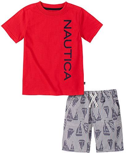 Nautica Sets (KHQ) - Juego de Pantalones Cortos para bebé, Rojo (Red/Print), 18 Meses