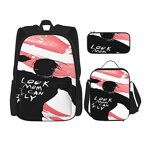 Look Mom I Can Fly - Mochila escolar de Scott, 3 piezas, bolsa escolar + estuche para lápices + bolsa de almuerzo combinada impresión 3D, lona viajes camping juvenil mochila