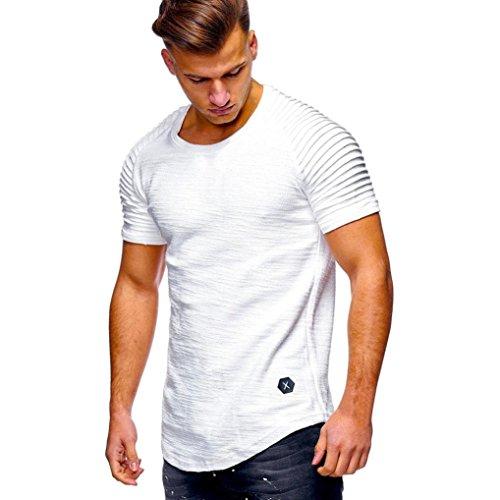 Yvelands Striped Pleated Camiseta Muscle Ocasional de los Hombres Hermoso O-Cuello Color sólido Slim Fit Raglan Sleeve Daily Shirts Blusa Top Verano, Liquidación! (Blanco, XL)