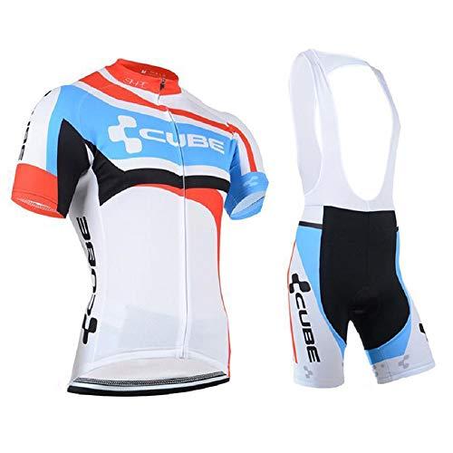 TeckBoo Estive Completo Abbigliamento Ciclismo per Uomo, Maglia da Bici Maniche Corte con Pantaloncini Bicicletta con 5D Gel Pad per MTB Ciclista, Tuta Sportivo Bicicletta