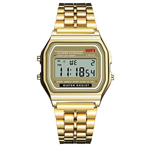 Hyjgjzjh Reloj Electrónico Cuadrado Impermeable para Hombre Y Mujer 9009 SYNOKE Retro Fashion