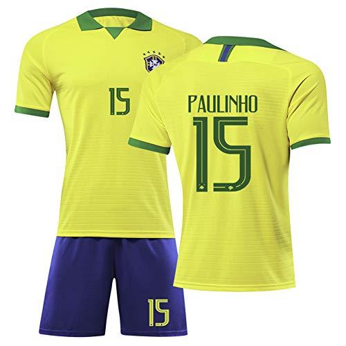 15 # Paulinho Brazilië kindervoetbalshirt set wit pak - professionele technische kleding atleten shirt tiener sportswear mesh sneldrogend fans sweatshirt